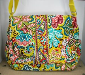 Vera Bradley Provencal Messenger Baby Diaper Bag  w/ Changing Pad Yellow Floral
