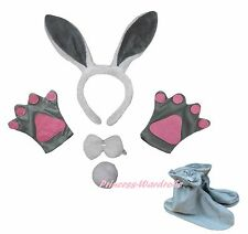 Gray Rabbit Bunny Easter Headband Bow Tail Paw Shoes 5p Kid School Party Costume