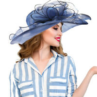 Lady Fashion Wide Brim Kentucky Derby Sun Hat Women Wedding Tea Party Church Cap