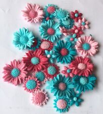 30 FLOWERS PINK TURQUOISE EDIBLE SUGARPASTE ICING BIRTHDAY PARTY CAKE TOPPERS