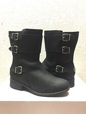 UGG WILCOX BLACK WATER RESISTANT LEATHER BOOTS US 8 / EU 39 / UK 6.5 -NEW