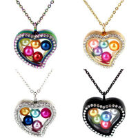 """Glass Floating Beads Cage Locket Heart Perfume Diffuser Necklace 20"""""""