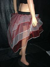 neon uv Red White Bustle Burlesque Sequin tutu Skirt fancy costume dance party
