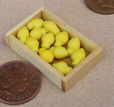 1:12 Wooden Box Of 12 Lemons Dolls House Miniature Kitchen Shop Accessory Fruit