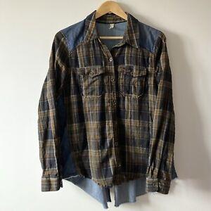 Free People shirt size M denim plaid flannel blue brown black