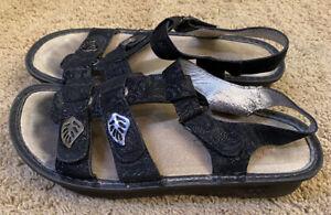 Womans Alegria KLE-676 Black Hook Loop Strap Sandals Size 39