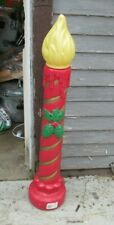 "Blowmold Christmas 40"" Candle with green holly NICE"