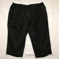 Kim Rogers Womens Capri Pants Black Elastic Waist Pockets Flat Front Plus 24W