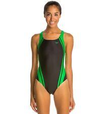 NWT Ladies Women SPEEDO Black Green Quantum Spliced Racing Swimsuit 28 MSRP $72