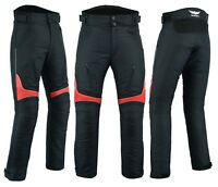 Mens Motorbike Motorcycle Textile Pants Trousers Armoured Waterproof Black Red