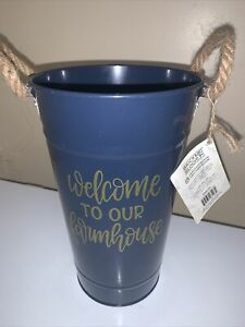Blue/Gold Metal Flower Vase Pot Bucket W Rope Handles Welcome to Our Farmhouse