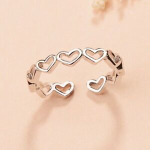 Tiny Love Heart Linked Adjustable End Ring 925 Silver Womens Girls Gift Uk