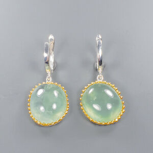 Jewelry Set Design Prehnite Earrings Silver 925 Sterling   /E46373