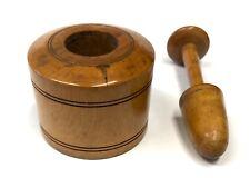 Antique Miniature Treen Mortar & Pestle Apothecary / Treen Snuff Mortar & Pestle