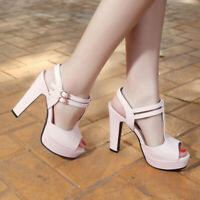 Women Gladiator Sandals Platform Chunky High Heel T-Strap Open Toe Dress Shoes