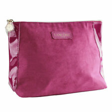 Lancome Fuchsia Suede & Charol with Gold Zipper Cosmetic Makeup Travel Bag