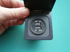 Caravan Motorhome Double USB socket with frame flap and back box  Grey