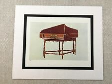 1888 Antique Print Spinet Harpsichord Italian Musical Instruments Victorian Art