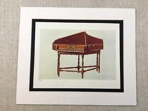 1888 Antique Print Spinet Harpsichord Italian Musical Instruments Victorian Art