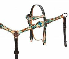 Western Showman leather headstall bridle breastcollar rein Celtic cross TACK SET