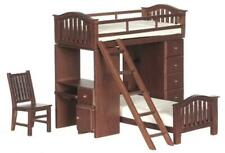 Dolls House Walnut Bunk Bed Set High Sleeper Miniature Bedroom Furniture Set