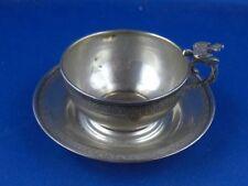 Tasse mit Unterteller Taube Vogel 800er Silber RAR