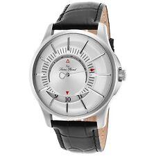 Lucien Piccard Men's Silver Case & Dial Black Strap Quartz Watch 40024-02S
