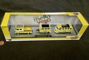 M2 Diecast Mello Yello Set: 1960 VW Transporter T2 Crew Cab, MicroBus & Trailer