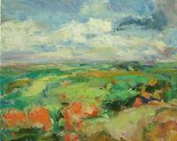 Art Oil Original Painting RM Mortensen Landscape Mountains Sky Abstract