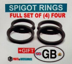 73.1 - 63.4 Spigot Rings - Set of four. For Alloy Wheel Hub Centre.