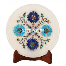 7'' White Marble Serving Plate Floral Marquetry Inlay Dining Table Decor H3569