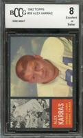 1962 topps #58 ALEX KARRAS detroit lions BGS BCCG 8