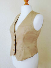 Ladies Beige Fawn Waistcoat UK16 Cotton Striped Lining Button Up Fully Fitted