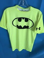 Men's UNDER ARMOUR Alter Ego Compression Shirt Batman Neon Yellow Short Sleeve L