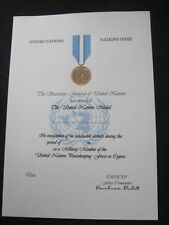 UN UNITED NATIONS CYPRUS MEDAL CERTIFICATE - QUALITY ITEM