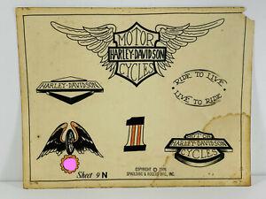 VTG Original 70's tattoo Flash 016 Harley Davidson Motorcycle Spaulding Rogers