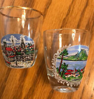 Laguna and Muchen Collector Shot Glasses-Gold Trim-SHIPS FREE