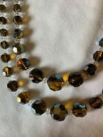 Vintage Czech Citrine Swarovski Crystal Faceted Glass Bead Necklace Art Deco