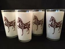 Rare! Vintage Jeanne Mellin Hackney Horse Glassware Tumblers (4)