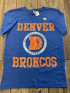 NWT Boys Denver Broncos Blue Short Sleeve Vintage Look Logo T-Shirt Large 14/16