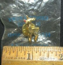 Harriet Carter Rudolph Lapel Pin Geniune Ruby Nose 24k Gold Electroplated Nip