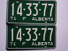PAIR 1971 ALBERTA CANADA License Plates 14 33 77 CAN