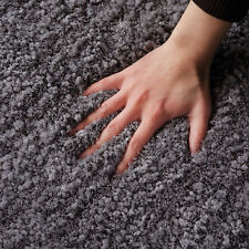 Large Dark Grey Shag Shaggy Floor Rug Thick Super Soft Plush Carpet 190x280cm