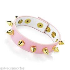 Precioso color rosa pálido y oro tono Spike imitación de cuero tachonado pulsera