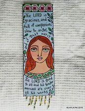 Folk Art ORIGINAL Canvas Bible Scripture LORD Grace Mercy Good Compassion Girl
