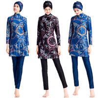 Modesty Muslim Swimwear Swimsuit Islamic Hijab Beachwear Swimming Print Flower