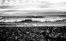 Large Framed Print - Black & White Pebble Stormy Ocean Beach (Picture Poster Art