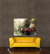 Stampa Poster gigante viaggio trasporto VINTAGE vapore treno ferrovia MOTORE pamp160
