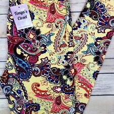 PLUS Multi Color Paisley Leggings Yellow Base Curvy 10-18