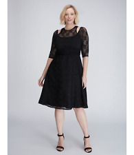 LANE BRYANT PLUS SIZE GEO LACE CUTOUT DRESS BY KIYONNA 14/16 BLACK